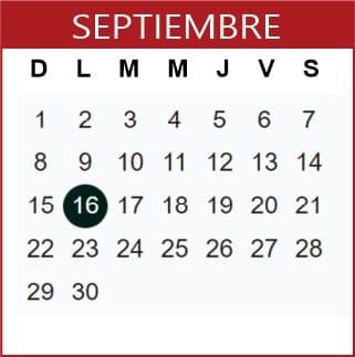 Septiembre Calendario SEP 2019-2020