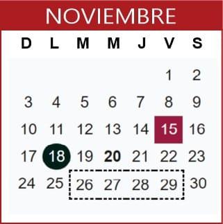 Noviembre Calendario SEP 2019-2020