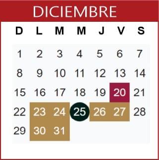 Diciembre Calendario SEP 2019-2020