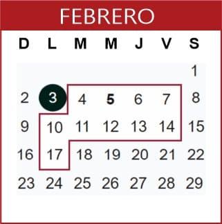 Febrero Calendario SEP 2019-2020