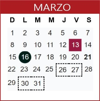 Marzo Calendario SEP 2019-2020